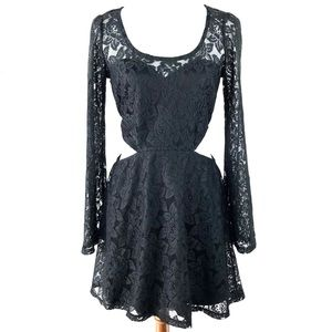Material Girl Black Lace Cutout Bell Sleeve Dress